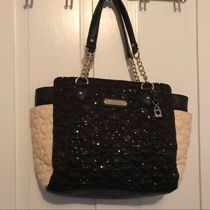 Betsy Johnson glitter and embossed b&w purse